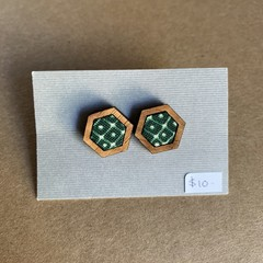 Turtle Green - Fabric and Wood earrings