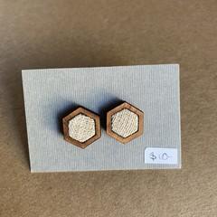 Cream - Fabric and Wood earrings