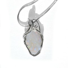 White opal pendant, Sterling wire wrapped