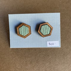 Green Stripe - Fabric and Wood earrings
