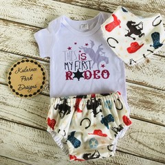 """This is my First Rodeo"" Onesie Set Baby Boy"