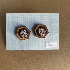 Navy and Cream hatch - Fabric and Wood earrings