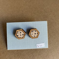 Navy and Cream Cross - Fabric and Wood earrings