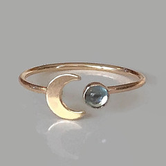Gold blue moon ring