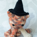 Crocheted Celebration Cat (with three dress-up hats)!