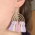 Rainbow pastel macrame earrings gift for her