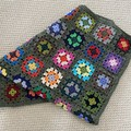 Crocheted Granny Square blanket  - Pure wool