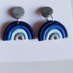 Rainbow Blue Polymer Clay Stud Earrings