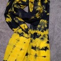 Navy on Sunny Yellow Silk Scarf Gift for Her/Teacher