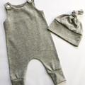 Newborn romper and beanie - grey