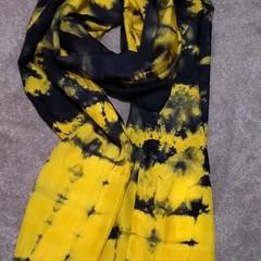 Navy on Sunny Yellow Silk Scarf