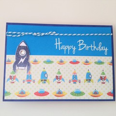 Birthday Card - Blue Rocket, and space ships