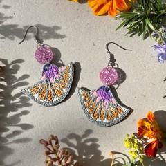 Polymer clay earrings - statement earrings Petals