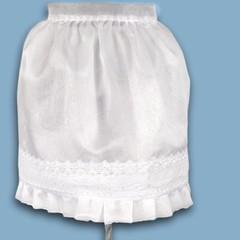 Alice crystal organza half apron with border lace trim