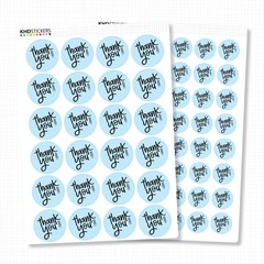 Blue Thank You Stickers - Water Resistant - Permanent