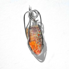 Matrix Opal pendant sterling silver wire wrapped Andamooka