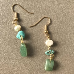 Jade and Turquoise Drop Earring