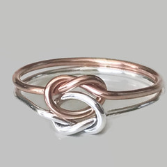 Rose gold true love knot ring