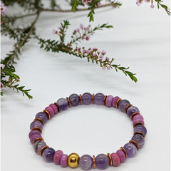 Amethyst and lampwork glass bracelet