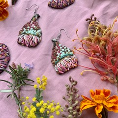 Polymer clay earrings - statement earrings Gun Blossoms
