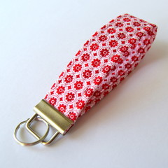 Wrist Key Fob / Key Ring - Tiny Red Flowers