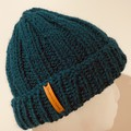 Green alpaca ladies or mens knitted beanie wool blend pompom