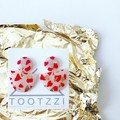 """Golden"" Translucent Clay Double Drop Dangles - Red Terrazzo (ii)"