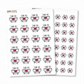 Glossy Bow and Heart Thank You Stickers - Water Resistant - Permanent