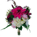 Bridal Bouquet Artificial Dahlia with Peonies Roses Berries Fern with Buttonhole