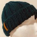 Green alpaca ladies or mens knitted beanie wool blend pompom