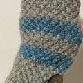 Grey striped handwarmers fingerless texting gloves wool