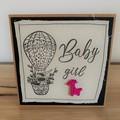 Baby Girl | Handmade card on material