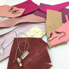 Make Your Own Leather earrings KIT-PINK