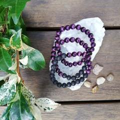 Purple Cats Eye Stretch Bracelet