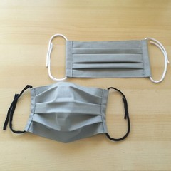 New Size!/Grey/Size S,M,L/Pleated Face Mask with filter pocket &Nose Wire