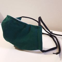 Mask with Toggle & Nose Wire - 3 Layer - Hunter Green