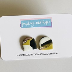 Marbled arch polymer clay studs #2