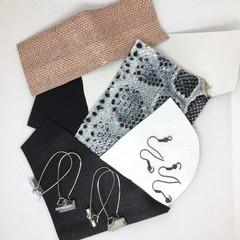 Make Your Own Leather earrings KIT-BLACK & WHITE