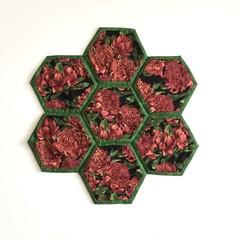 Waratahs Hand-pieced Hexagon Table Centre