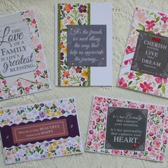Set of 5 Handmade Notecards - Flora
