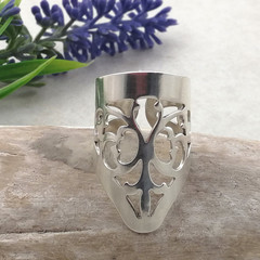 Ornate Sterling Silver Ring. Open Band Boho Ring, Made from Silverware.