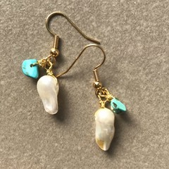 Freshwater Pearl and Turquoise Small Earring
