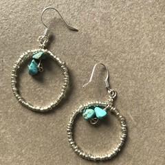 Double Turquoise Hoop Earring