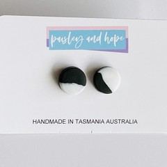 Black & white polymer clay studs #2