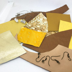 Make Your Own Leather earrings KIT-YELLOW