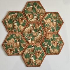 Deers Hand-pieced Hexagon Table Centre
