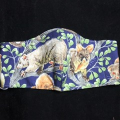 Possum Fabric Face Masks, Size:3-6yrs, Ready Made kids