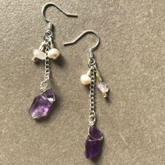 Amethyst and Pearls Chain Drop Earring