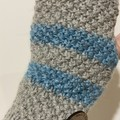 Grey striped handwarmers fingerless texting gloves wool