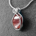 Mexican Fire Opal crystal Sterling wrapped unisex pendant